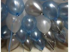 Pearl Blue, Silver & Pearl White Helium Latex Balloons www.CorporateRewards.com.au