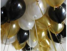 Metallic Black, White & Gold Helium Latex Balloons www.CorporateRewards.com.au
