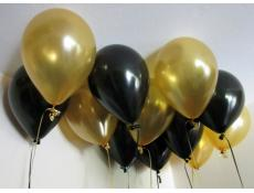 Metallic Black & Gold Helium Latex Balloons www.CorporateRewards.com.au
