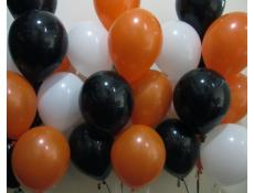 Matt Black, Orange & White Helium Latex Balloons www.corporaterewards.com.au