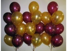 Metallic Burgandy & Gold Helium Latex Balloons CorporateRewards.com.au