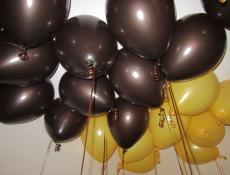 Metallic Chocolate & Goldenred Helium Latex Balloons www.CorporateRewards.com.au