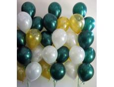 Metallic Forest Green, Gold & White Helium Latex Balloons www.CorporateRewards.com.au
