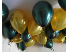 Metallic Gold & Forest Green Helium Latex Balloons www.CorporateREwards.com.au