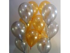 Metallic Gold & Silver Helium Latex Balloons