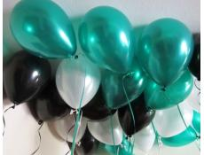 Metallic Green, Black & White Helium Latex Balloons www.CorporateRewards.com.au
