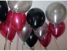 Metallic Magenat, Black & Silver Helium Latex Balloons www.CorporateRewards.com.au