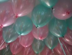 Pearl Pink and Pearl Mint Helium Latex Balloons www.CorporateRewards.com.au