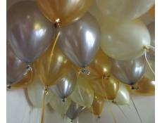 Metallic Gold, Silver & Pearl Ivory Helium Latex Balloons CorporateRewards.com.au