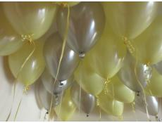 Pearl Yellow & Silver Helium Latex Balloons www.CorporateRewards.com.au