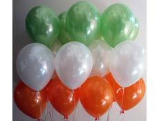 Metallic Lime, White & Orange Helium Latex Balloons www.CorporateRewards.com.au