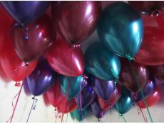 Metallic Teal, Magenta, Red, Purple & Burgandy Helium Latex Balloons