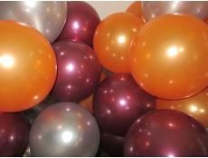 Metallic Helium Latex Balloons Orange, Silver & Burgandy www.corporaterewards.com.au