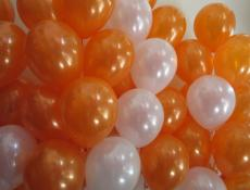 Metallic Orange & pearl white balloons www.CorporateRewards.com.au