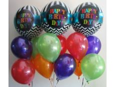 Happy Birthday Orbz with Purple, Red, Orange & Lime Green Metallic Balloons www.CorporateRewards.com.au
