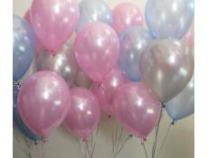 Pearl Pink, Blue & Silver Helium Latex Balloons