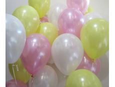 Pearl Pink, Yellow & White Helium Latex Balloons