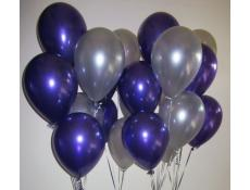 Metallic Purple & Silver Helium Latex Balloons