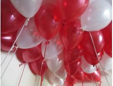 Metallic Red & White Helium Latex Balloons www.CorporateRewards.com.au