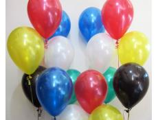 Metallic Red, White, Yellow, Emerald, Blue & Black Helium Latex Balloons
