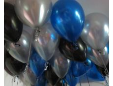 Metallic Sapphire Blue, Black & Silver Balloons www.CorporateRewards.com.au