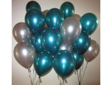 Metallic Teal & Silver Helium Latex Balloons