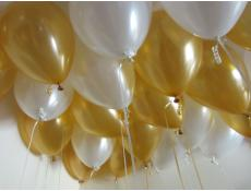 Metallic Gold & White Helium Latex Balloons www.CorporateRewards.com.au