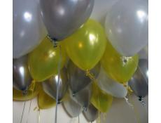 Metallic Helium Latex Balloons Yellow, Silver and White Balloons www.corporaterewards.com.au