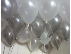 Metallic Silver and Pearl White Balloons.