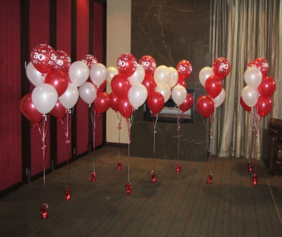 30th Birthday Balloon Floor Arrangements | Metallic Red & White Helium Balloons CorporateRewards.com.au