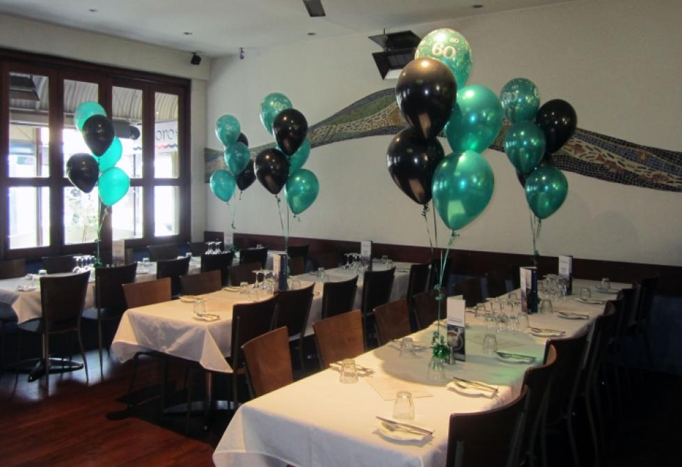 60th Birthday Balloon Table Arrangements | Metallic Teal & Black Balloons Restaurant Fremantle | CorporateRewards.com.au