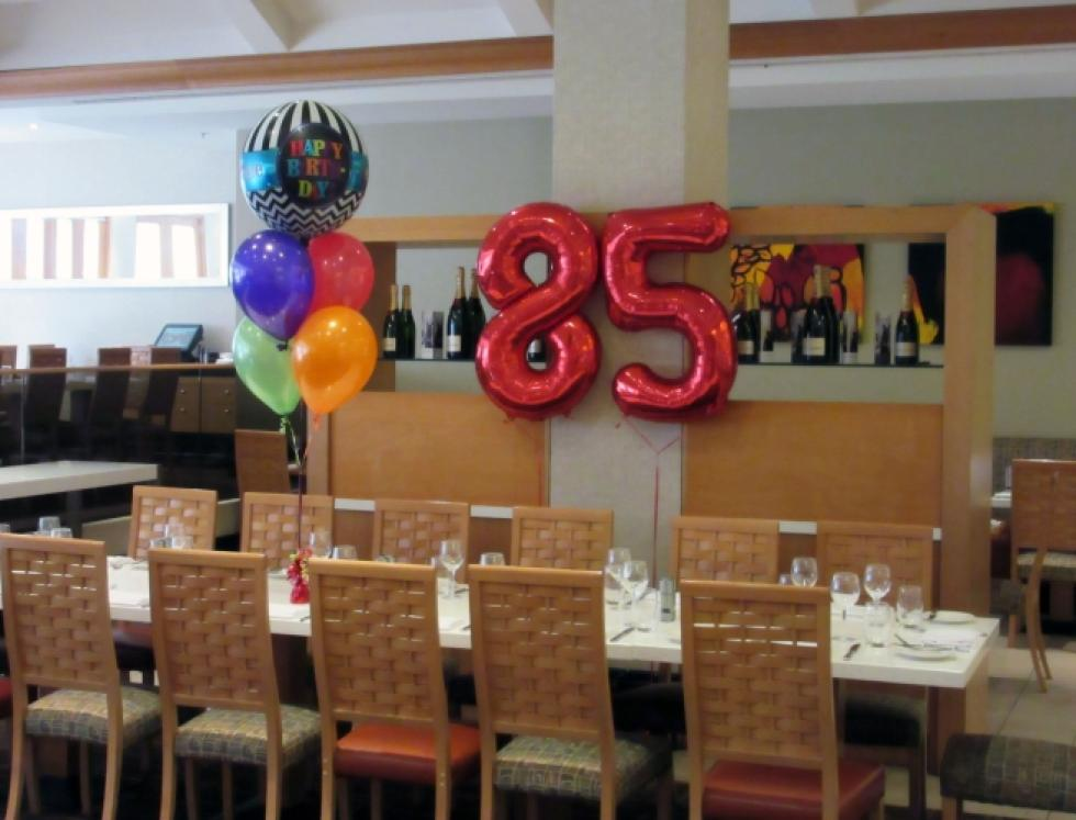 Giant 85 th Birthday Number Balloons with Orbz Birthday Balloon Bouquet Pan Pacific Hotel Perth | www.CorporateRewards.com.au