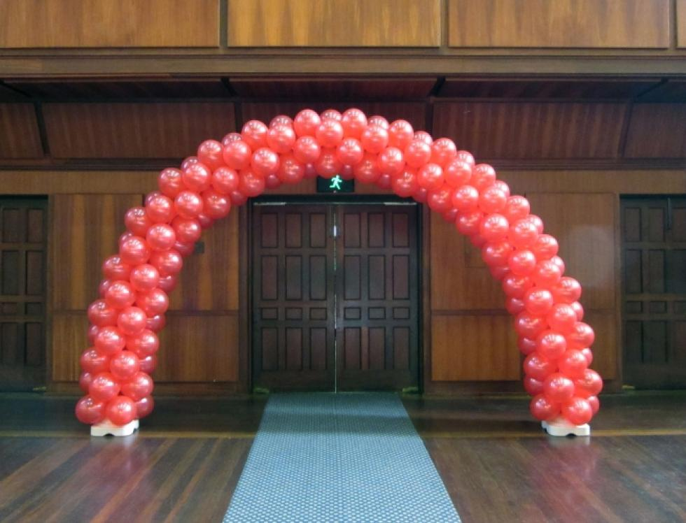 Balloon Arch air inflated | Metallic red balloons Winthrop Hall, UWA Crawley | www.CorporateRewards.com.au