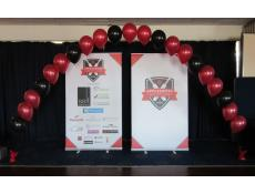 Red & Black Balloon Arch Club Award's Night SYC | www.CorporateRewards.com.au