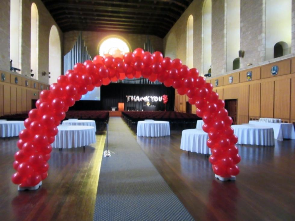 Entrance Balloon Arch & Giant Letter Balloons Winthrop Hall, University of WA | www.CorporateRewards.com.au