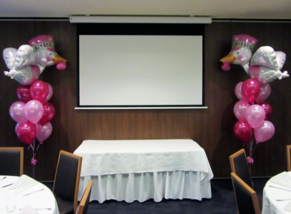 Giant Stork Baby Girl Balloon Arrangements Kailis Private Function Room Leedervile | CorporateRewards.com.au