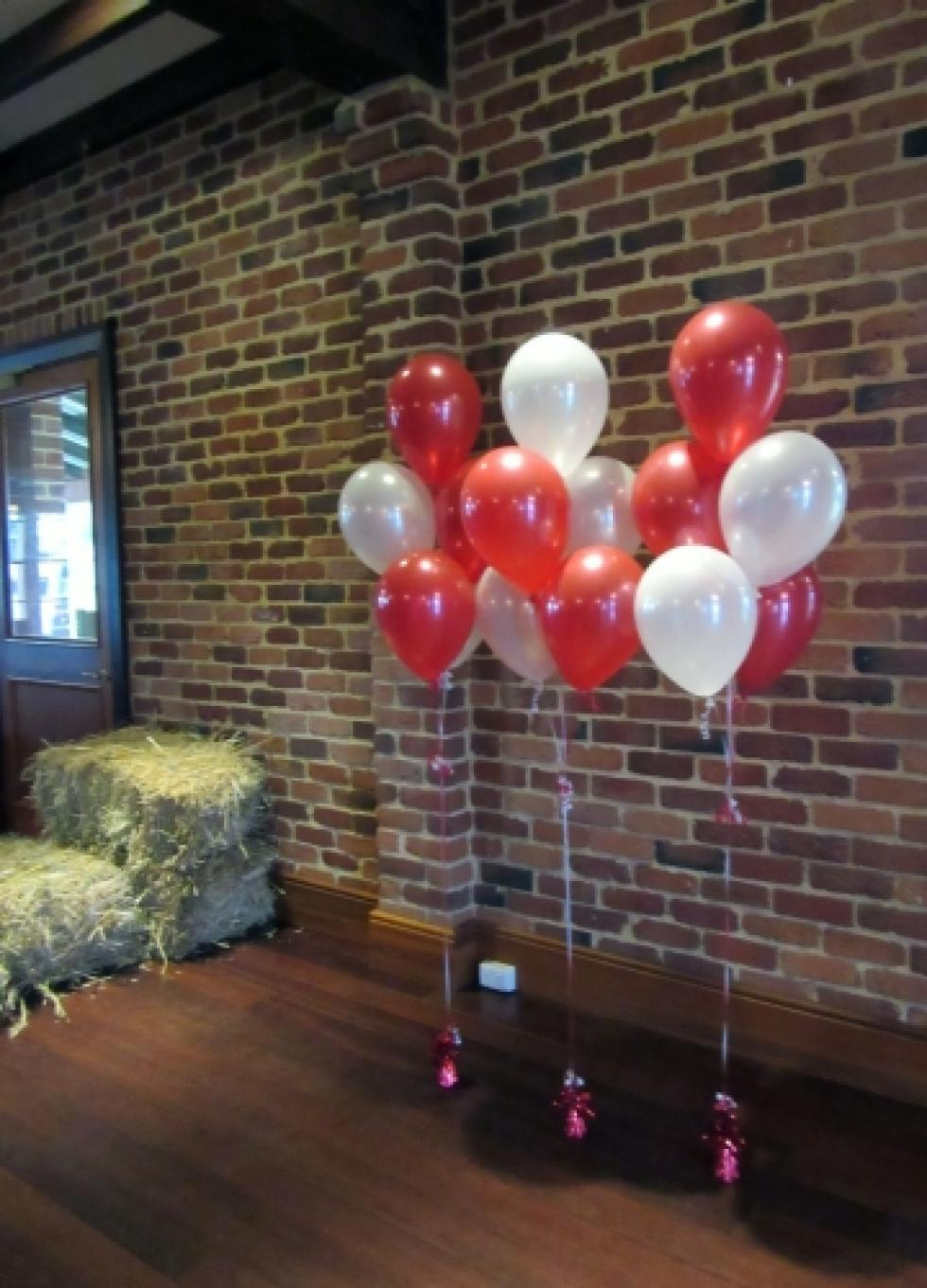 Red & White Balloon Floor Arrangements Bakers House www.corporaterewards.com.au