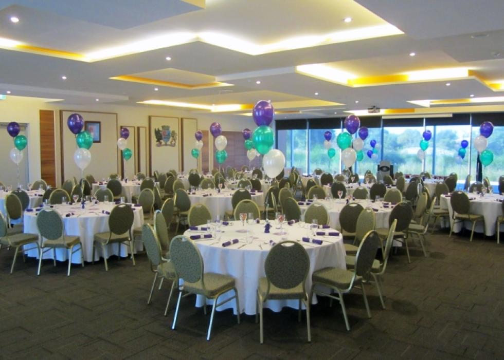 Helium Latex Balloon Table Arrangements | Metallic Purple, Teal & White Balloons Canning Civic Centre | www.CorporateRewards.com.au