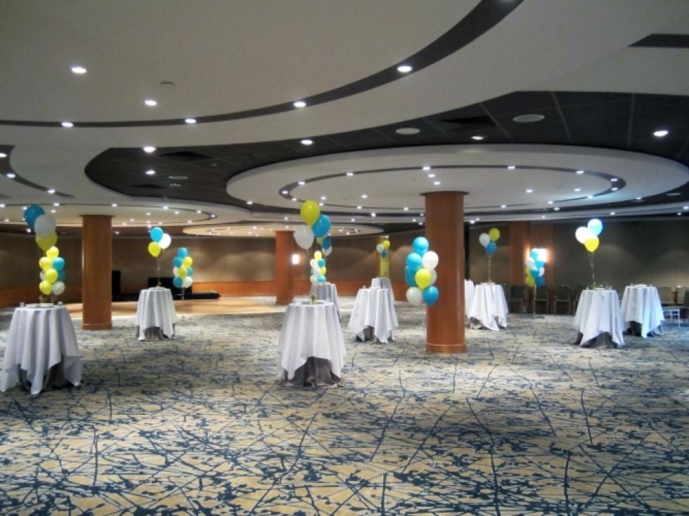 Floor & Table Balloon Decorations | Blue, Yellow & White Helium Balloons Hyatt Hotel Ballroom| www.CorporateRewards.com.au