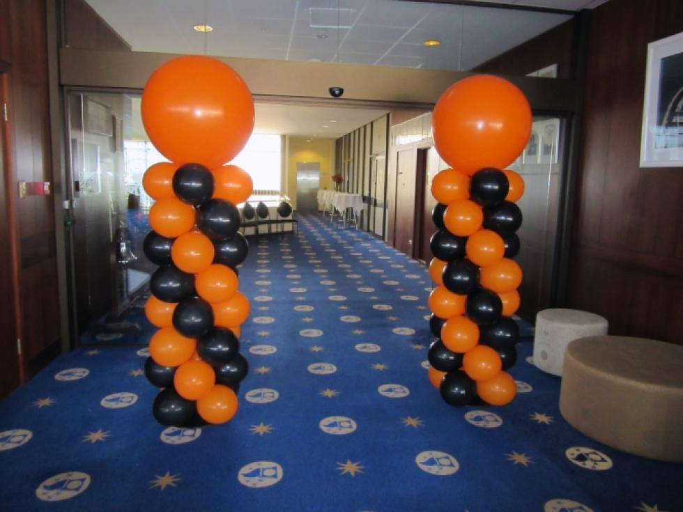 Balloon Entrance Column Arrangsments | Orange and Black latex balloons Fremantle Sailing Club | www.corporaterewards.com.au