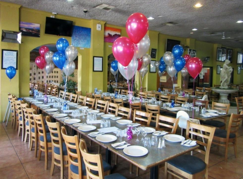 Helium Balloon Table Arrangements | Metallic Blue, Magenta & Silver Sienna's REstuarant Leederville | www.CorporateRewards.com.au