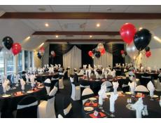 Helium Balloon Table Arrangements | Metallic Red, Black & Silver Balloons East Fremantle Yatch Club | CorporateRewards.com.au