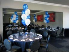 Helium Latex Balloon Table Arrangements | metallic blue & white balloons Empire Bar Private Funciton Room Rivervale | CorporateRewards.com.au