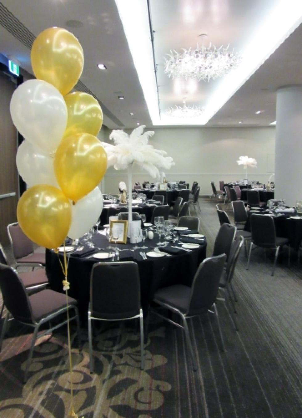 Hleium Latex Balloon Floor Arrangements | Gold & Pearl White Balloons Hilton Hotel Argyle Ballroom | www.CorporateRewards.com.au