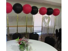 Gaint Wildberry & Black Balloons with Gold Tinsel Tails Wedding Balloons | www.CorporateRewards.com.au