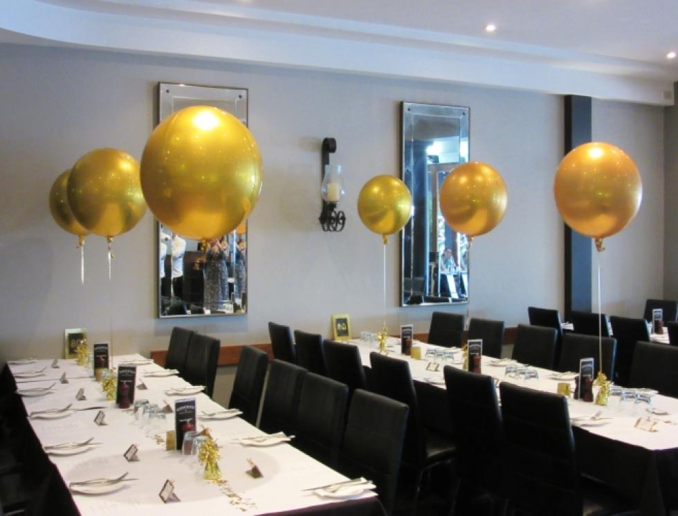 Gold Orbz Balloon Table Arrangements www.corporaterewards.com.au