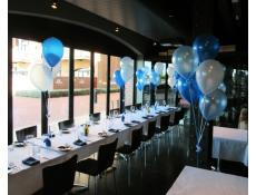 Helium Table & Floor Arrangements | metallic light blue, blue & white balloons Old Swan Brewery Restaurant Perth | CorporateRewards.com.au