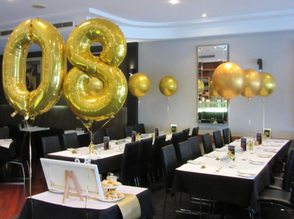 80th Balloons Number with Gold Orbz Table Decorations www.corporaterewards.com.au