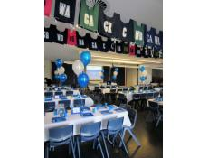 Latex Balloon Table Arrangements | Blue & White Metallic Balloons Perth College Mt Lawley | www.CorporateRewards.com.au