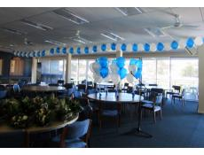 Balloon Garland - air inflated and helium latex balloon table arrangements Claremont Showgrounds VIP Room | www.CorporateReards.com.au